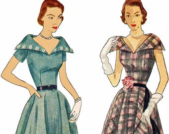 Vintage 50s Portrait Collar Dress Pattern Stand Away Collar Dress with Circular Skirt 1950s Sewing Pattern Simplicity 3544 Size 20 Bust 38