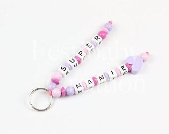 Porte clé à personnaliser, porte clé enfant, porte clé en perles de bois, accessoire de voiture, bijou de sac