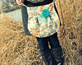 CHRISTMAS SALE CONCEAL Carry Purse-- Grey and Teal Medallion Small Cross Body Ccw Handbag