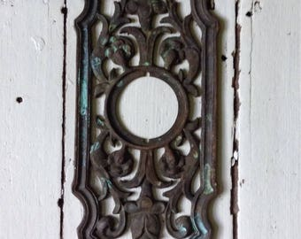 Large Vintage Brass Decorative Entry Door Back Plate
