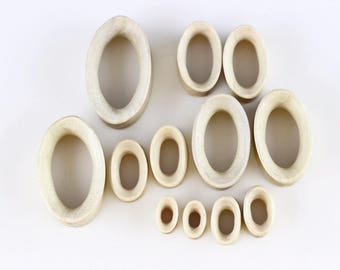 Oval Tunnel Plugs - Carved Wood Tunnel - Shaped Plugs oval tunnels for stretched ears - PA50