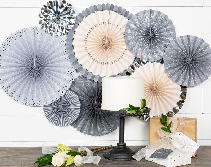 Party Fans in Gray, Silver and Ivory, Gray Pom Wheel, Grey Rosettes, Gray Paper Medallions, Gray Paper Fans, PLGR01, Gray Paper Pinwheel