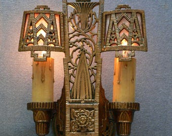Pair of antique Art Deco , Art Nouveau sconces with mica shades