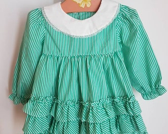 Vintage bright green pinstriped toddler dress approx 12 months