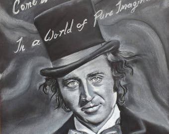 Willy Wonka - Limited Edition Mounted A3 print of Gene Wilder