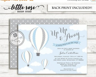Hot Air Balloon Baby Shower Invitation - Up Up & Away Baby Shower Invite - Girl Baby Shower - Birthday - Printable - LR1003
