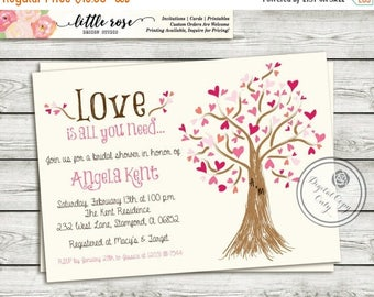 Bridal Shower Invitation - Wedding Shower Invite - Valentine's Invite - Mother's Day - Heart Tree - Baby Shower - Printable - LR1019