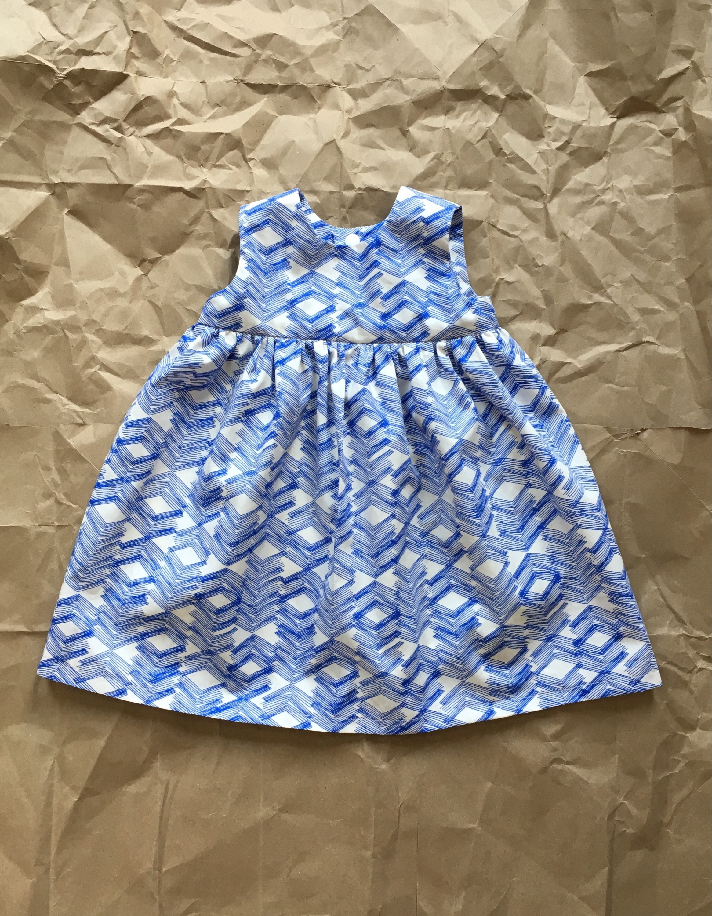 Cotton girl dress Geranium baby girl dress Blue and white dress