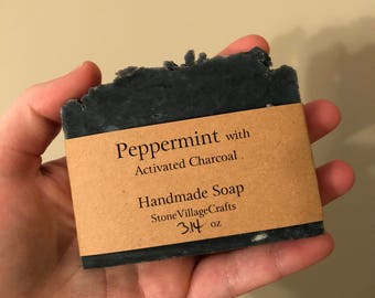 Activated Charcoal Peppermint scented Handmade soap