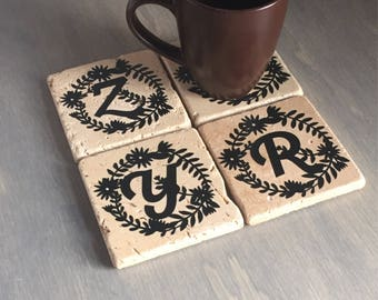 Monogram Coasters, Housewarming Gift, Gift for Coworkers, Personalized Gifts, Monogrammed Gifts, Monogrammed Coasters, Wedding Gifts