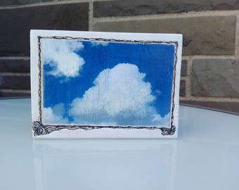 woodart, object, with fotoprint on paper, clouds and sky, drawing