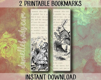 2 Printable Alice in Wonderland Bookmarks White Rabbit
