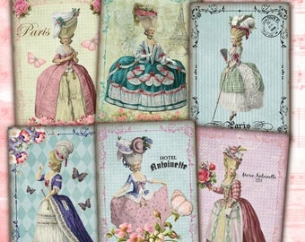80% off 4th of July Sale Marie Antoinette Instant Download Shabby Chic Vintage French ATC ACEO Cards Digital Collage Sheet Jewelry Holders G