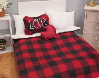 Newly Released! 18 Inch Doll Bedding - Plaid Comforter & Throw Pillows - Valentine's Day Dollhouse Decor - American Made Doll Accessories