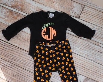 Personalized Pumpkin Bodysuit with Candy Corn Tights