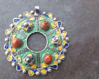 old kabyle silver necklace with enamel and mediteranean corals