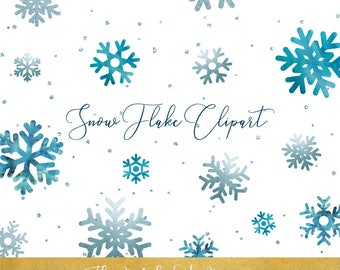Snowflake Clipart Set - Snowflakes & Snow Confetti Graphics - Glitter and Ice Tones - INSTANT DOWNLOAD - 33 .PNG Images