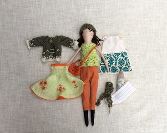 """Cloth doll with baby,Dress up doll, Handmade cloth doll, doll set, play set, soft doll, 13"""" doll, rag doll"""