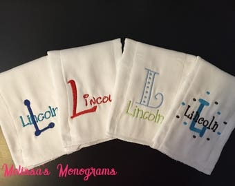 Set of 4 Personlized/Embroidered Baby Burp Cloths - You choose the set!!!