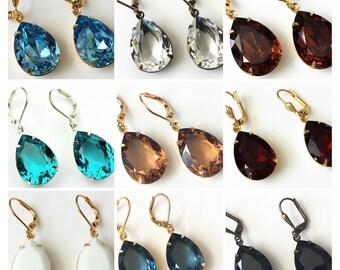 Choose Your Color Swarovski Teardrop Earrings Crystal Rhinestone Earring Crystal Drop Earrings Wedding Jewelry Bridesmaids Jewelry