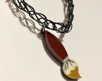 Paint brush choker necklace