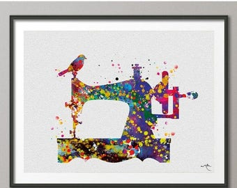Sewing Machine Watercolor Art Print Wall Seamstress Sewing Room Wedding Gift Poster Giclee Wall Decor Art Home Decor Wall Hanging [No 185]