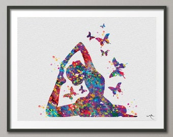 Yoga Art, Yoga Pigeon Pose, Yoga Butterfly, Yoga Pose, Yoga Print, Yoga Watercolor, Yogi, Yoga Decor, Yoga Wall Decor, Yoga Gift, Zen-877