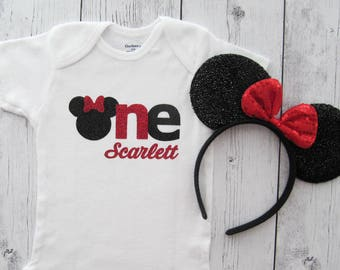 Minnie Mouse First Birthday Onesie and Ears - girl birthday, red black, glitter, personalized, minnie one, minnie ears red