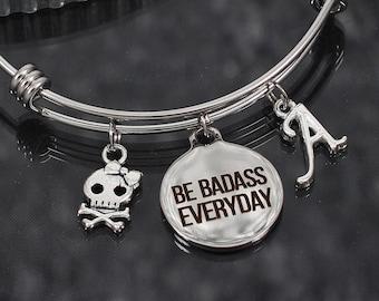 Inspirational Gift, personalized jewelry, positive inspiration bracelet, encouragement charm bracelet be badass everyday inspirational quote