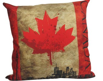 Canada Grunge Toronto City Scape Pillow Cover