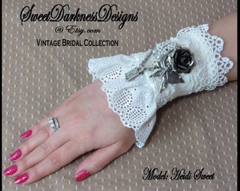 Steampunk Bridal wrist cuff Steampunk Wedding Cuff VICTORIAN VINTAGE LACE Rose Butterfly Vintage Bridal wrist cuff by SweetDarknessDesigns