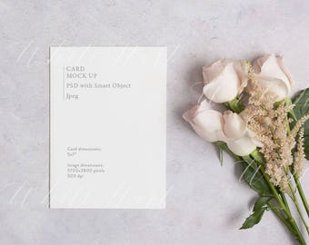 """Styled stock photography - 5x7"""" stationery mockup - white card - High Res Jpeg + Psd Smart object - weddings, card, invitations"""
