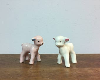 Two Small White & Pink Lambs / Sheep Ceramic Figurines