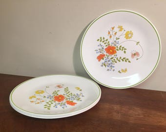 "Four Corelle Wildflower 10"" Dinner Plates Pink, Yellow, Blue & Green Floral with Lime Green Stripe"