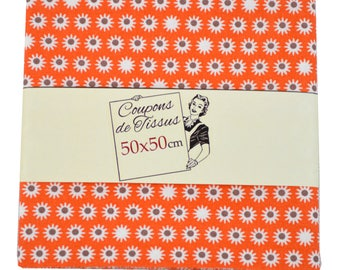 "Cut of fabric 100% cotton ""Tipik orange"" 50cm X 50 cm"