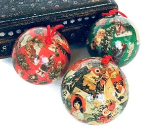 Decoupage ball ornaments set of 3 round Christmas tree decorations