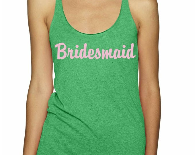 Apple Green Bridesmaid Flowy Tank Top - Bachelorette Party Shirts . Bachelorette Tank Tops - lime, navy, green, pink weddings - flamingo