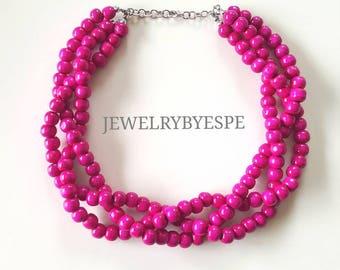 Hot Pink Necklace, Statement Necklace, Pink Wedding Jewelry, Pink Bridesmaid Jewelry, Choker Multi Strand Necklace, Chunky Bib