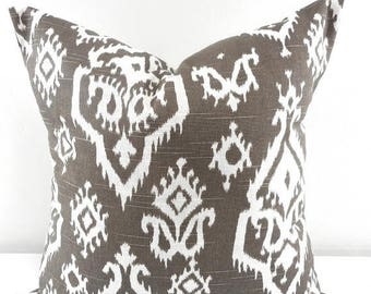 SALE Brown pillow Cover,  Raji, White and brown Sham Pillow case.Select your size.
