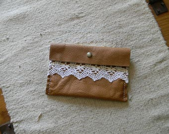 Romantic leather clutch in soft caramel color