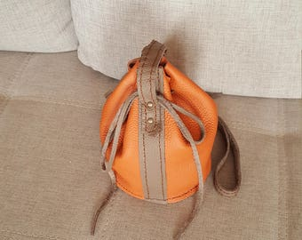 Handmade small orange/taupe shoulder bag