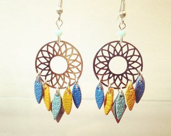 Blue dreams silver and blue mustard earrings