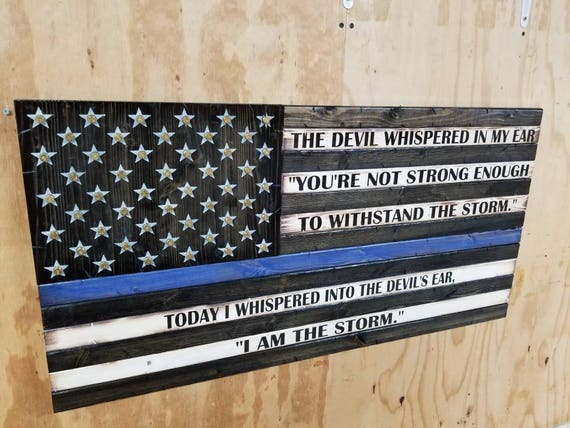 "Wooden Rustic-Style American Flag w/ ""I AM THE STORM"" quote and Shell Casings in Stars"