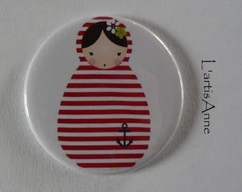 Matryoshka doll Russian sailor holiday Badge or magnet magnet.