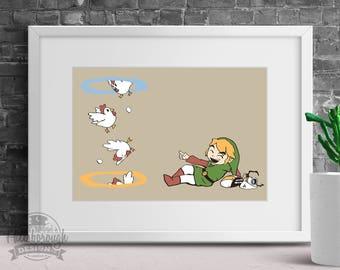 Thinking With Chickens: Legend of Zelda, Portals, Instant Download, Digital Print, Poster, Aperture, Cucco, Zelda, Portal, Wall Art, Print
