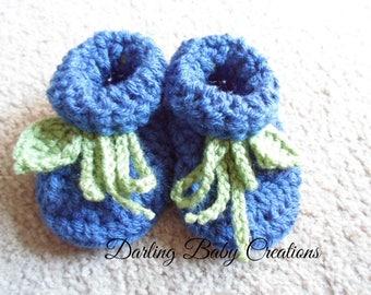 Crochet Blueberry Booties:  Sizes Newborn-12 Months.