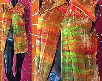 Sale Henry Higgins Velvet Blouse 70s Blouse 70s Velvet Blouse Vintage 70s Rainbow Crushed Velvet Blouse