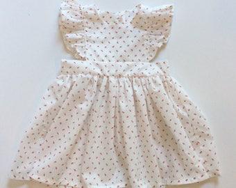 VINTAGE STRAWBERRIES // pinafore dress // toddler girls dress