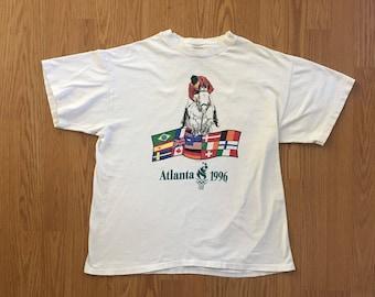VTG 1996 Atlanta Olympics Equestrian T-Shirt - Medium Mens - Vintage Tee - Vintage Clothing - Horse Jumping - Summer Olympics 96 -