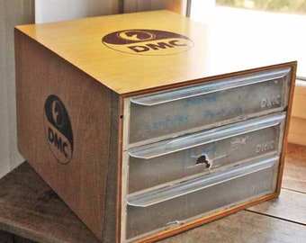 Vintage Small drawer for shop DMC / Old wooded shop display box by sewing company DMC